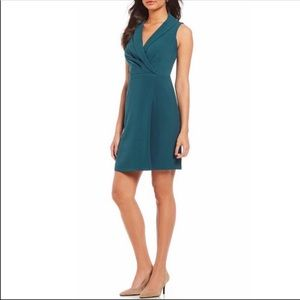 ADRIANNA PAPELL Faux Wrap Crepe Teal Dress